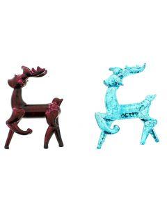 Glass Reindeer Christmas Decorations 87mm - Pair