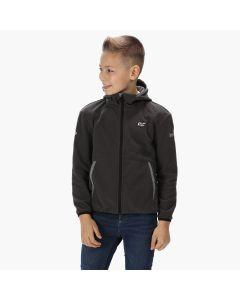 Regatta Kids' Thirl Full Zip Hooded Fleece With Reflective Trim - Magnet Grey