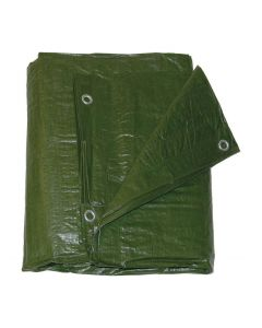 Waterproof Tarpaulin With Fitted Eyelets 5.0m X 8.0m - Green