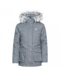 Trespass Varida Girls' Waterproof Parka Jacket - Black/Silver Grey