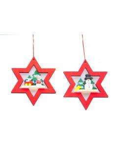 Festive 10cm Wooden Star Hanging Christmas Decoration