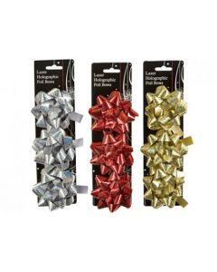 Snow White Foil Christmas Bows - Set of 3