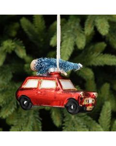 Festive Red Car With Tree On Top 10cm