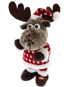 Festive Animated Reindeer With Jumper 31cm