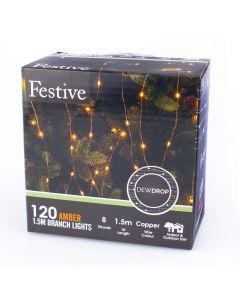 Festive LED Amber Branch Light - 1.5m
