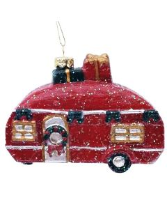 Festive Red Christmas Caravan 10cm