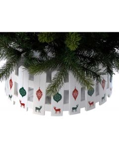 Festive Plastic Tree Skirt with Reindeer - 54 x 22cm