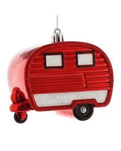 Festive Red Shatterproof Caravan 10cm - Red