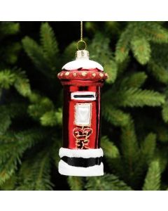 Festive Red Glass Letterbox 11cm