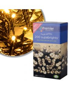 Premier Decorations 200 Supabright Warm White LED Lights