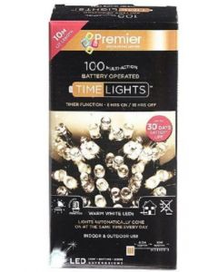Premier Decorations 100 Multi-Action Battery Operated Warm White LED Lights