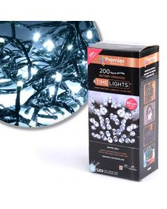 Premier Decorations 200 Multi-Action Battery Operated White LED Lights