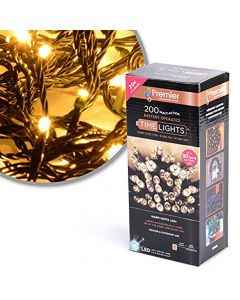 Premier Decorations 200 Multi-Action Battery Operated LED Lights Warm White