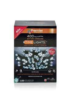 400 Multi Action Battery-Operated LED Cool White Christmas Lights