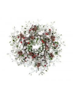 Premier Decorations 45 cm Frosted Leaves Wreath