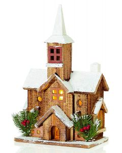 Premier Wooden Church With Steeple 38cm