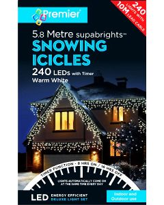Premier 240 LED Snowing Icicles White With Timer