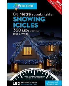 Premier 360 LED Snowing Icicles Blue/White With Timer