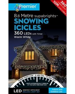 Premier 360 LED Snowing Icicles White With Timer