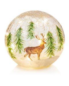15cm crackle Ball Reindeer Scene