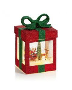 Santa LED glitter parcel water spinner 17cm