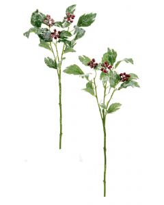 46cm Snow Holly-Berries Spray
