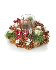 25cm Natural White Cone Wreath Glass Candle Holder