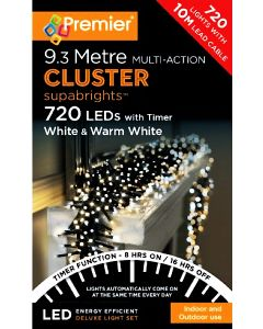 Premier 720 Multi-Action LED Cluster Warm White / White With Timer