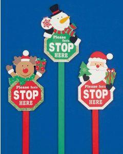 Xmas Santa Please Stop Here Garden Stake - 49cm