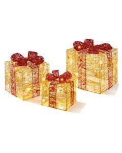 Set of 3 lit Christmas Parcels