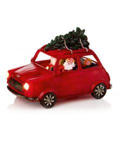 Premier Decorations 23 cm Santa Driving a Mini Cooper