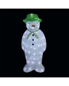 Snowtime Acrylic The Snowman With 100 Ice White LED Lights