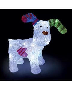 Snowtime The Snowdog Ornament With 100 Ice White LED Lights
