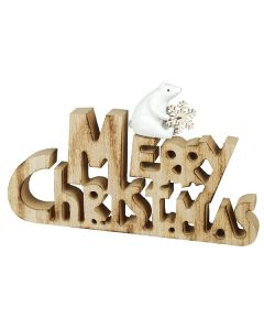Heaven Sends Merry Christmas Sign With Resin Bear
