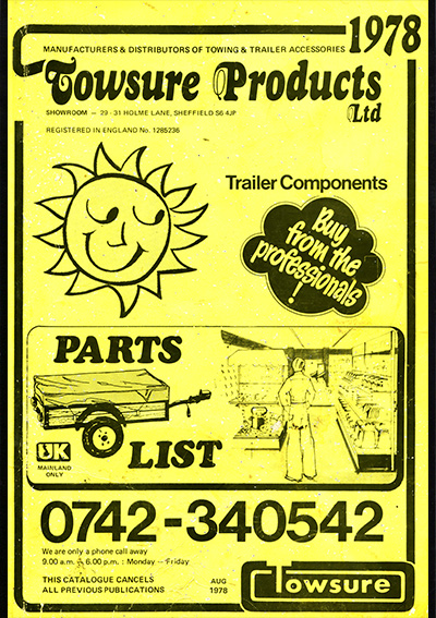 Towsure Trailer Components Price List 1978