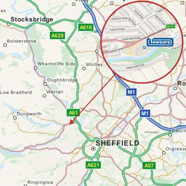 Map showing location of Towsure store in Hillsborough, Sheffield